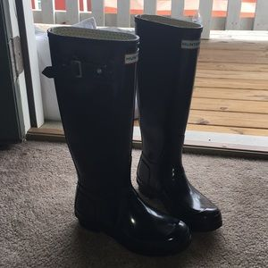 Black Glossy Tall Hunter Boots